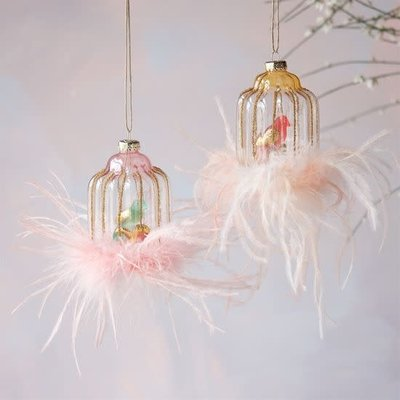 """One Hundred 80 Degrees PINK BIRD. - Birdcage Ornament - Glass & Feathers, 4.5"""""""