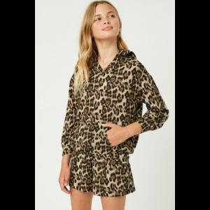 Hayden Hoodie - Leopard Print V Neck