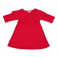 Mila Rose Red Ribbed Ruffle Dress