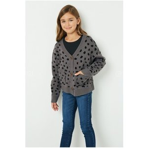Hayden Grey Animal Print Buttoned Sweater Cardigan (gj1186)