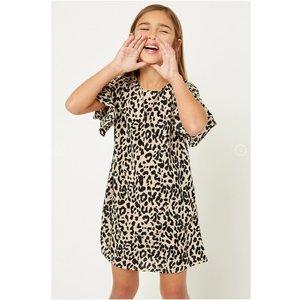 Hayden Leopard Ruffle Sleeve Shift Dress (G8261)