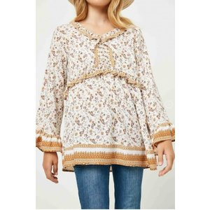 Hayden Ruffled Color Paisley Print Tunic