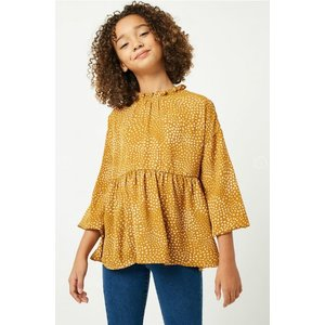 Hayden Mustard Dot Ruffle Neck Long Sleeve Babydoll Top