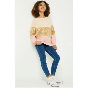 Hayden Long Sleeve Gold Leopard Panel Top (GJ3132)