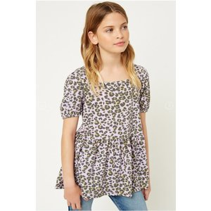 Hayden Lavender Leopard Square Neck Top