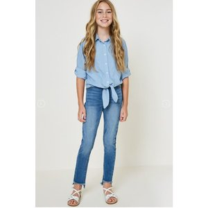 Hayden Front-Tie Denim Button-Down Collared Top