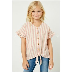 Hayden Pink Stripe Linen Button-Down Tie Top