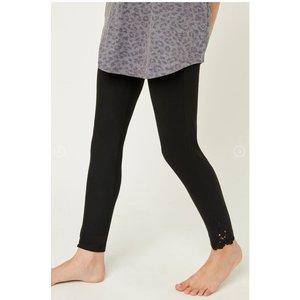 Hayden Black Lace Trim Brushed Leggings