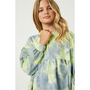 Hayden Girls Long Sleeve Tie-Dye Peplum Top (gy1335)