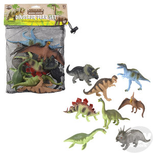The Toy Network Mesh Bag of Dinosaurs - 8 Piece Set with Reusable Mesh Bag