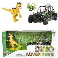The Toy Network Velociraptor Dinosaur and Jeep Adventure Set