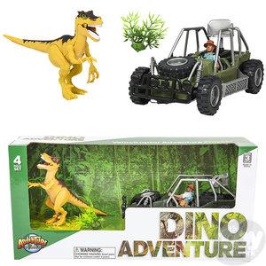 The Toy Network Velociraptor Dinosaur and Jeep Adventure Set