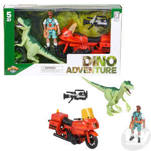 The Toy Network Dinosaur Discovery Expedition - 5 piece Dinosaur Motorcycle Explorer Set
