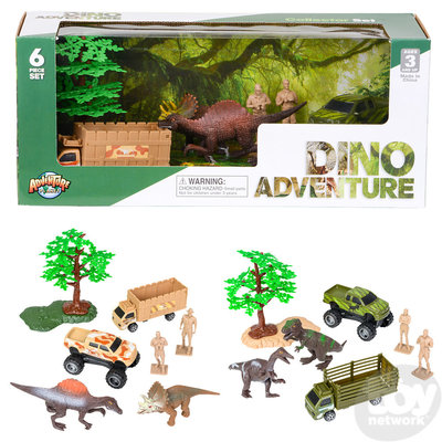 The Toy Network Dinosaur Discovery Expedition - 6 Piece Dino Playset with Camo Truck