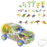 The Toy Network Dinosaur Figurines in a Clear Vehicle Storage Case