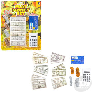 """The Toy Network Play Money Set with Play Calculator and Credit Card - 10""""x12.5"""""""