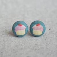 Rachel O's Cupcakes Fabric Button Earrings (0.5 inch wide)