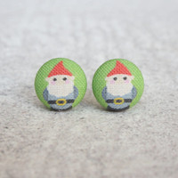 Rachel O's Lawn Gnome Fabric Button Earrings  (0.5 inch wide)