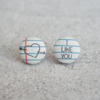 Rachel O's Love Note Fabric Button Earrings  (0.5 inch wide)