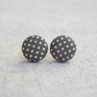 Rachel O's Party Dots Fabric Button Earrings  (0.5 inch wide)
