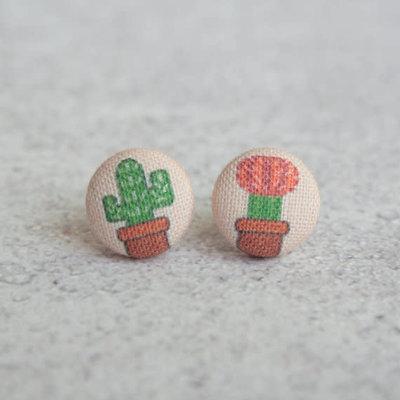 Rachel O's Cactus Fabric Button Earrings  (0.5 inch wide)