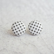 Rachel O's Black and White Polka Dot Fabric Button Earrings  (0.5 inch wide)