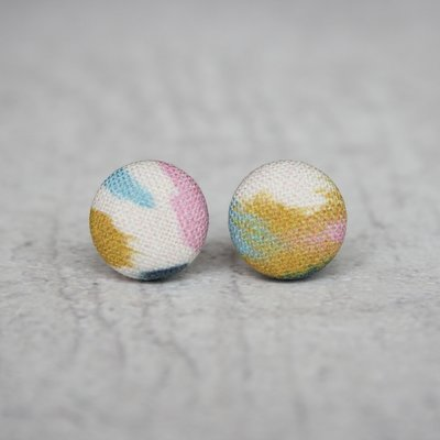 Rachel O's Brush Strokes Fabric Button Earrings