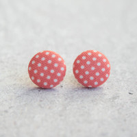 Rachel O's Red and White Polka Dot Fabric Button Earrings (0.5 inch wide)