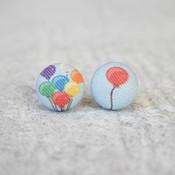 Rachel O's Balloons Fabric Button Earrings (0.5 inch wide)