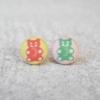 Rachel O's Gummy Bear Fabric Button Earrings  (0.5 inch wide)