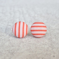 Rachel O's Pink and Red Stripes Fabric Button Earrings (0.5 inch wide)
