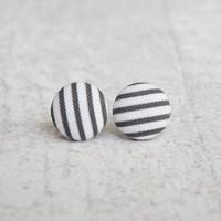 Rachel O's Black Stripes Fabric Button Earrings (0.5 inch wide)