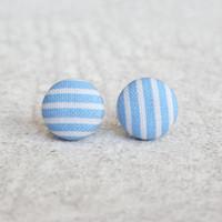 Rachel O's Blue Stripes Fabric Button Earrings (0.5 inch wide)