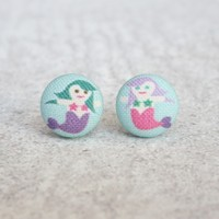 Rachel O's Mermaid Fabric Button Earrings (0.5 inch wide)