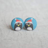 Rachel O's Santa Penguins Fabric Covered Button Earrings (0.5 inch wide)