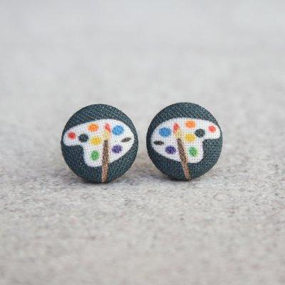 Rachel O's Artist Paint Palette Fabric Button Earrings (0.5 inch wide)