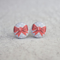 Rachel O's Polka Dot Bow Fabric Button Earrings (0.5 inch wide)