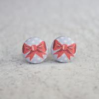Rachel O's Polka Dot Bow Fabric Button Earrings (0.5 inch wide)