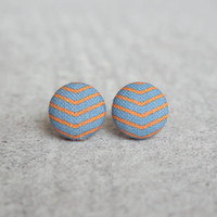 Rachel O's Orange and Purple Chevrons Fabric Button Earrings (0.5 inch wide)