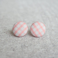 Rachel O's Pink Gingham Fabric Covered Button Earrings (0.5 inch wide)