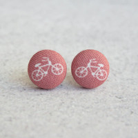Rachel O's Earthy Red Bikes, Fabric Covered Button Earrings (0.5 inch wide)