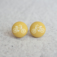 Rachel O's Mustard Bikes Fabric Covered Button Earrings (0.5 inch wide)