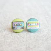 Rachel O's Cassette Tapes, Fabric Covered Button Earrings (0.5 inch wide)