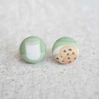 Rachel O's Milk and Cookies Fabric Button Earrings (0.5 inch wide)