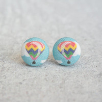 Rachel O's Hot Air Balloon Fabric Button Earrings (0.5 inch wide)