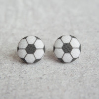 Rachel O's Soccer Fabric Button Earrings (0.5 inch wide)
