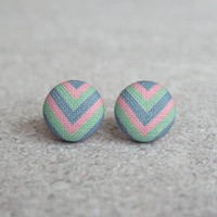 Rachel O's Pastel Chevron Fabric Button Earrings (0.5 inch wide)