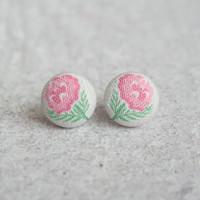 Rachel O's Faded Rose Fabric Button Earrings (0.5 inch wide)
