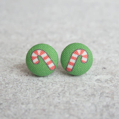 Rachel O's Candy Canes Fabric Button Earrings (0.5 inch wide)