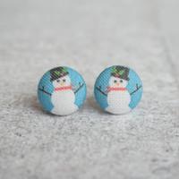 Rachel O's Snow Men Fabric Button Earrings (0.5 inch wide)